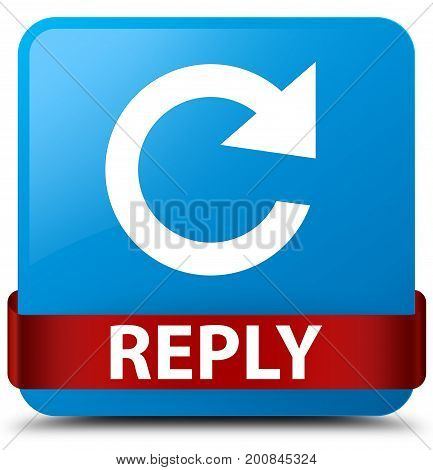 Reply (rotate Arrow Icon) Cyan Blue Square Button Red Ribbon In Middle