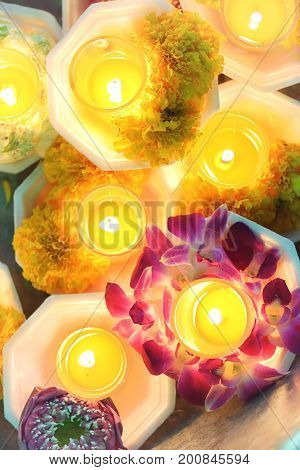 Candle lit thai culture flower walk in Asalha Puja day Magha Puja day Visakha Puja Day