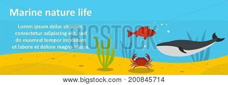 Marine nature life banner horizontal concept. Flat illustration of marine nature life banner horizontal vector concept for web