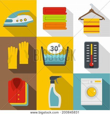 Housework icons set. Flat set of 9 housework vector icons for web with long shadow