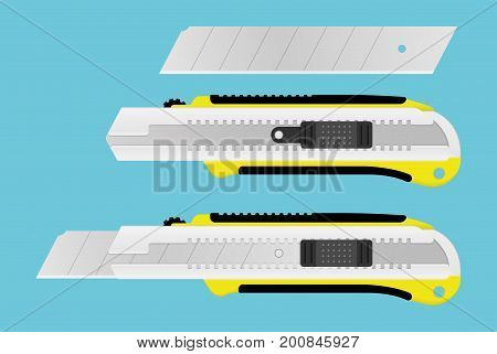 Realistic Boxcutter tool. Office paper knife and blade. Stationery instrument for paper cutting. Vector illustration