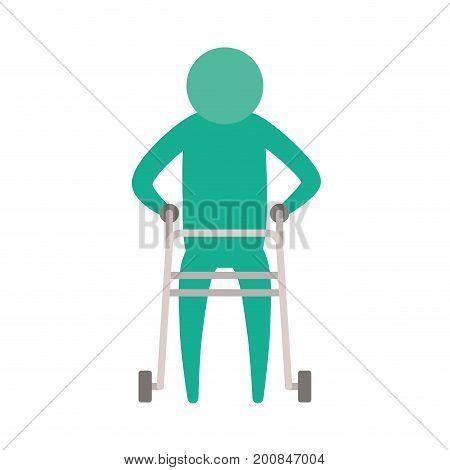 color green silhouette pictogram elderly man in assistance walker