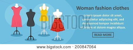 Woman fashion clothes banner horizontal concept. Flat illustration of woman fashion clothes banner horizontal vector concept for web