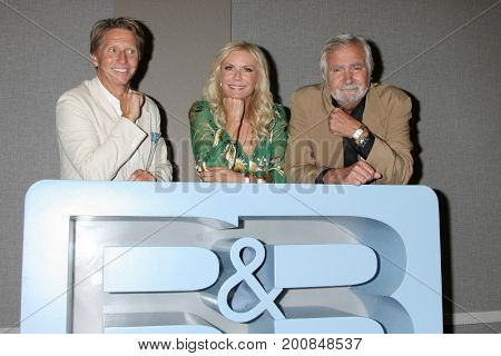 LOS ANGELES - AUG 20:  Brad Bell, Katherine Kelly Lang, John McCook at the Bold and the Beautiful Fan Event 2017 at the Marriott Burbank Convention Center on August 20, 2017 in Burbank, CA