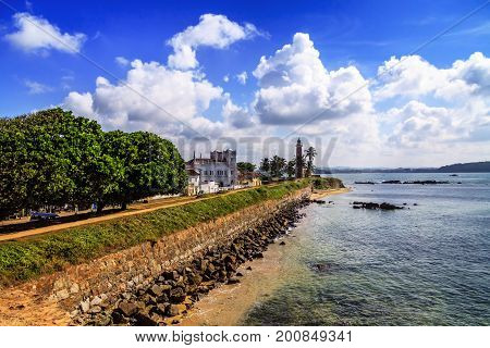 Lighthouse In Fort Gale At Sri Lanka Seascape
