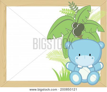 cute baby hippo with tropical leaves and palm tree on empty wood frame for copy space ideal for nursery art decoration or scrapbooking projects