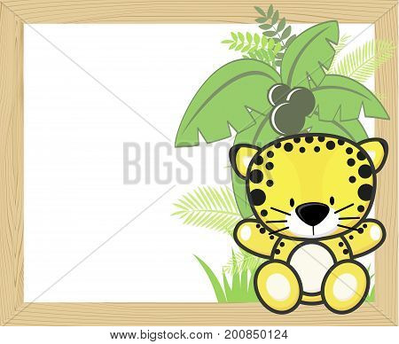 cute baby leopard with tropical leaves and palm tree on empty wood frame for copy space ideal for nursery art decoration or scrapbooking projects