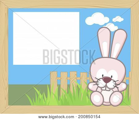 wood frame with cute baby rabbit and blank board for copy space design for children