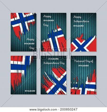 Svalbard Patriotic Cards For National Day. Expressive Brush Stroke In National Flag Colors On Dark S