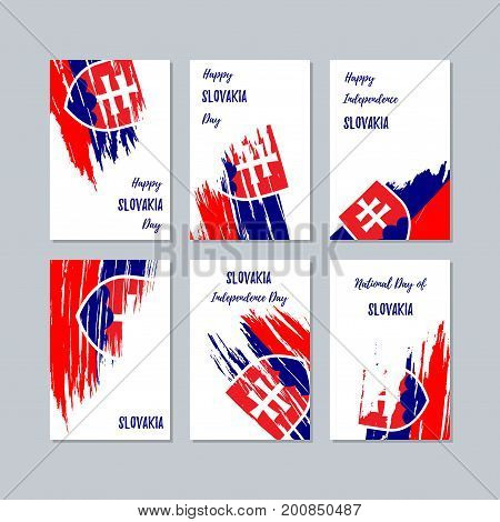 Slovakia Patriotic Cards For National Day. Expressive Brush Stroke In National Flag Colors On White