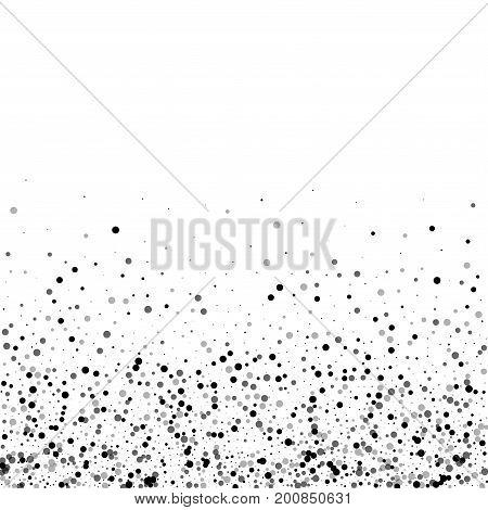 Dense Black Dots. Scatter Bottom Gradient With Dense Black Dots On White Background. Vector Illustra
