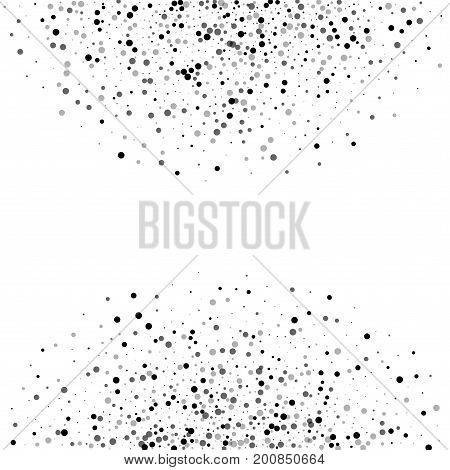 Dense Black Dots. Abstract Semicircle With Dense Black Dots On White Background. Vector Illustration