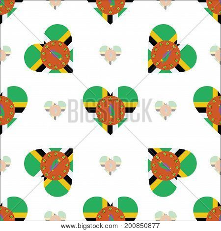Dominica Flag Patriotic Seamless Pattern. National Flag In The Shape Of Heart. Vector Illustration.