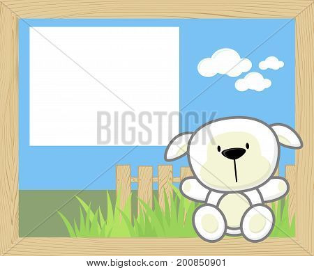 wood frame with cute baby sheep and blank board for copy space design for children