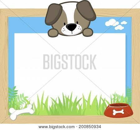 wood frame with cute baby dog and blank board for copy space design for children