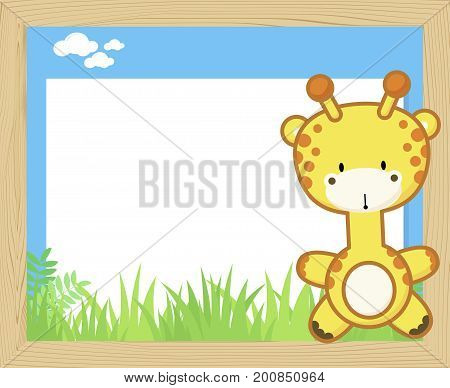 wood frame with cute baby giraffe and blank board for copy space design for children