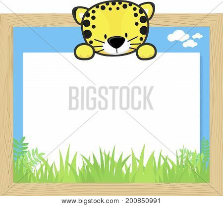 wood frame with cute baby leopard and blank board for copy space design for children