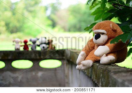 Six Dolls On Old Wall  ,dolls Friends,one Doll Feeling Lonely
