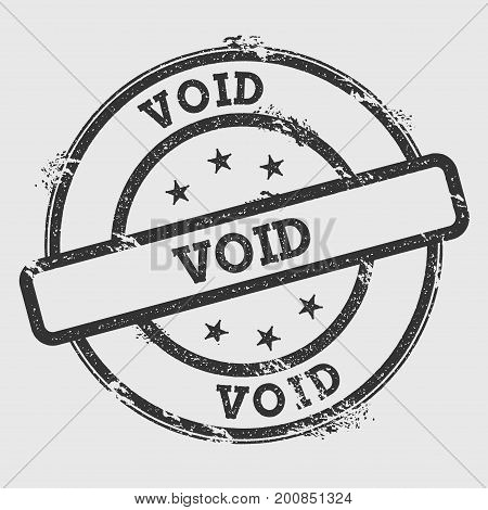 Void Rubber Stamp Isolated On White Background. Grunge Round Seal With Text, Ink Texture And Splatte