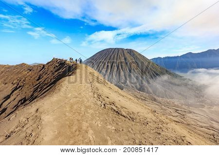 View from the top of an active Bromo volcano at Bromo Tengger Semeru national park - East Java Indonesia