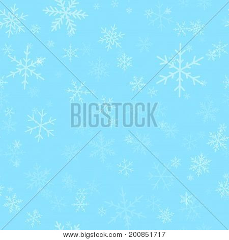 Transparent Snowflakes Seamless Pattern On Turquoise Christmas Background. Chaotic Scattered Transpa