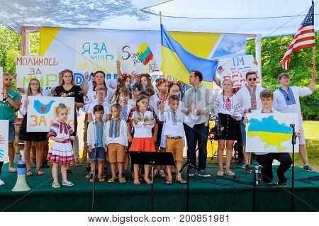 Sayreville Nj - Augusrt 19, 2017: The Performance Of Children In Support Of Ukraine