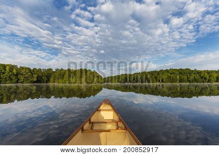 Canoe Bow On A Canadian Lake In Summer