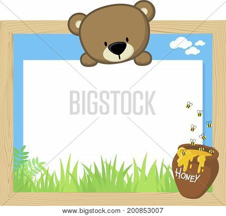 wood frame with cute baby bear and blank board for copy space design for children