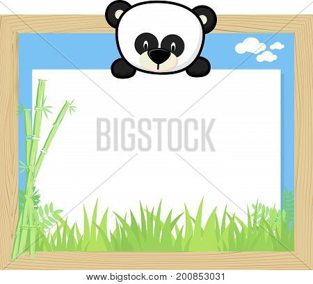 wood frame with cute baby panda and blank board for copy space design for children