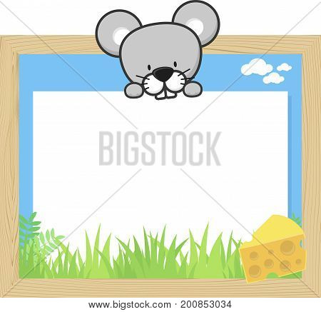 wood frame with cute baby mouse and blank board for copy space design for children