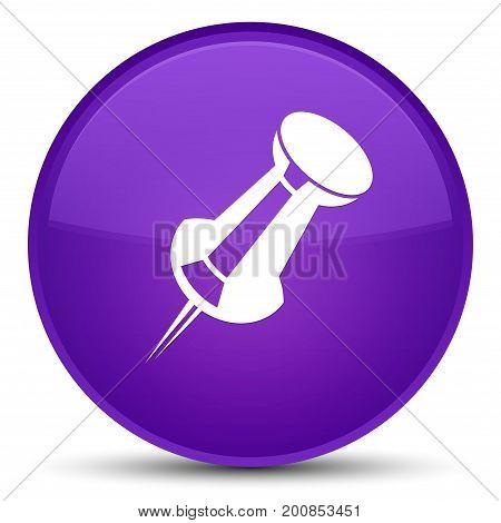 Push Pin Icon Special Purple Round Button
