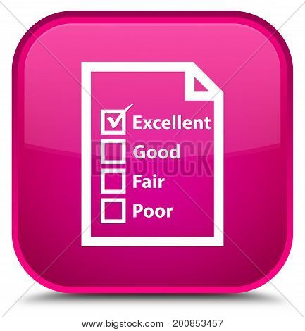 Questionnaire Icon Special Pink Square Button