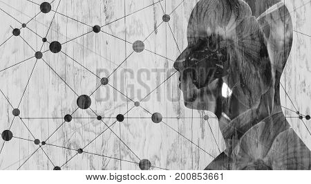 Silhouette of a man's head. Mental health relative brochure, report or book cover design template. Scientific medical designs. Wood texture