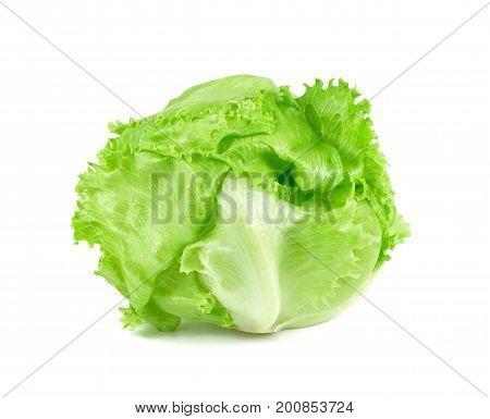 green Iceberg lettuce on white background Fresh cabbage isolated baby cos