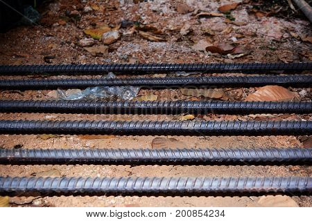 Rebar For Construction Work On Ground At Work Site