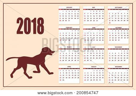 Classic american calendar for wall year 2018 with cartoon toy dog. English language. Week starts on Sunday. There are all 12 month. eps 10