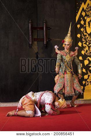 Hanuman and Praram is traditional dance drama art of Thai classical masked this performance is Ramayana THAI KHON epic