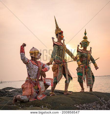 Hanuman Tosakan and Praram is traditional dance drama art of Thai classical masked this performance is Ramayana THAI KHON epic