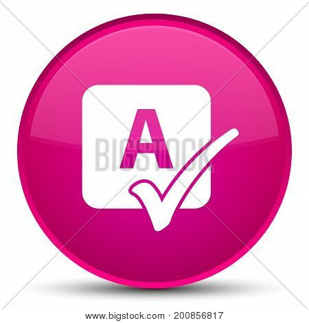 Spell Check Icon Special Pink Round Button