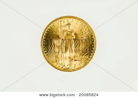 US double eagle gold coin, obverse