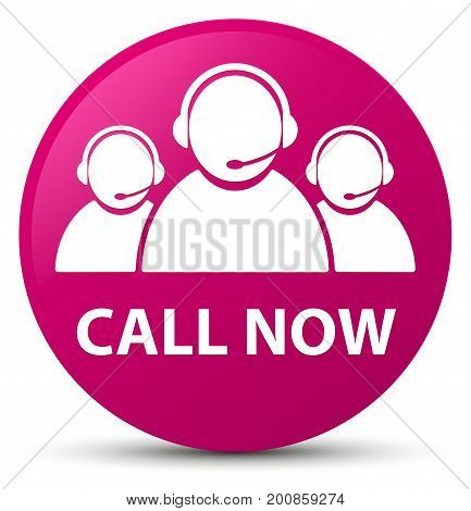 Call Now (customer Care Team Icon) Pink Round Button