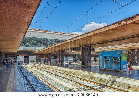 Rome, Italy - May 15, 2017 : Main Railways Stantion Of Rome-   Roma Termini Platform. Italy.