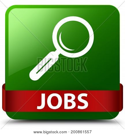Jobs Green Square Button Red Ribbon In Middle