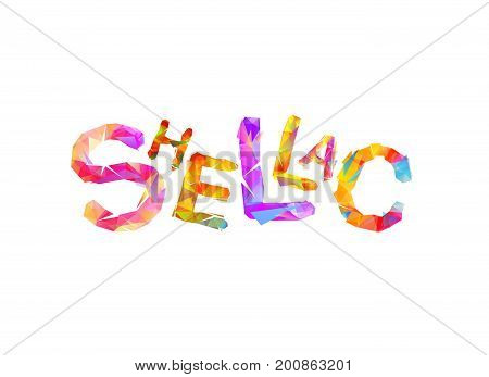 SHELLAC - vector word of colorful triangular letters
