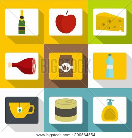 Food store icons set. Flat set of 9 food store vector icons for web with long shadow
