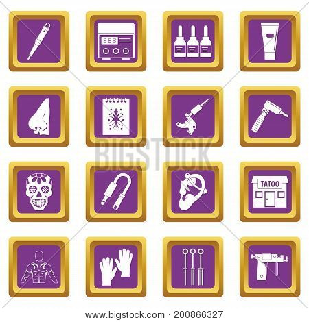 Tattoo parlor icons set in purple color isolated vector illustration for web and any design