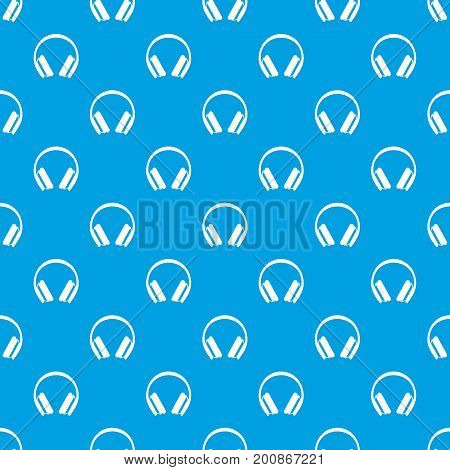 Protective headphones pattern repeat seamless in blue color for any design. Vector geometric illustration