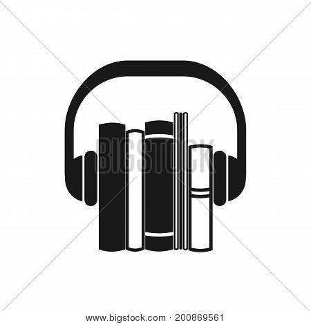 Audiobooks black icon. Monochrome vector emblem of books with headphone.