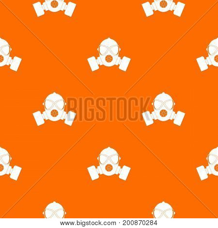 Respirator pattern repeat seamless in orange color for any design. Vector geometric illustration