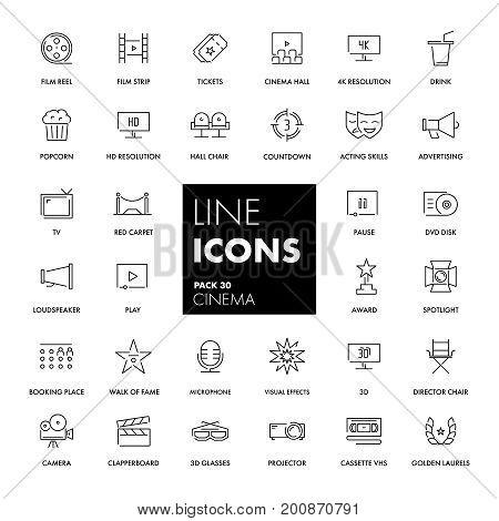 Line icons set. Cinema pack. Vector illustration.